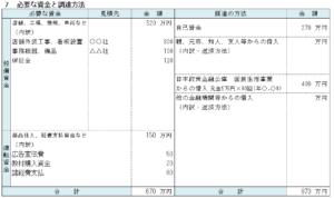 資金計画書のテンプレート