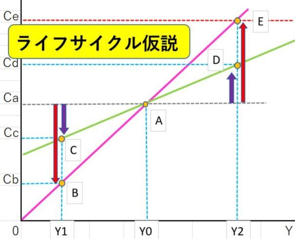ライフサイクル仮説のグラフ